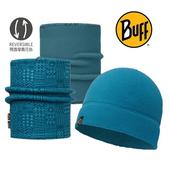 《BUFF》Polar保暖帽+雙面保暖領巾 組合 神秘藍紋#BF113284-737-10
