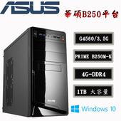 《華碩平台》華碩B250平台  辦公首選 I Intel第7代 G4560雙核 4G-D4 / 1TB / Win10 桌上型電腦