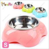 《MorePet》花形塑料不鏽鋼兩用碗(粉紅色S)