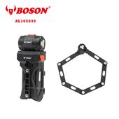 《BOSON》AL105030 高強度鋁合金 折疊專業鎖具 自行車 防盜防塵防雨(黑色)