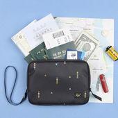 《韓版》時尚清新 大容量可手挽 證件護照 收納包(3色)(黑色)
