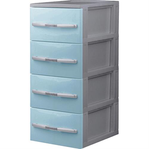 《波頓》收納櫃四層-無輪(藍色)