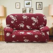 《歐卓拉》月色牡丹彈性沙發套(3人座)
