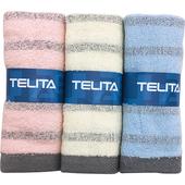 《TELITA》粉彩竹炭條紋毛巾3入(33x68cm)