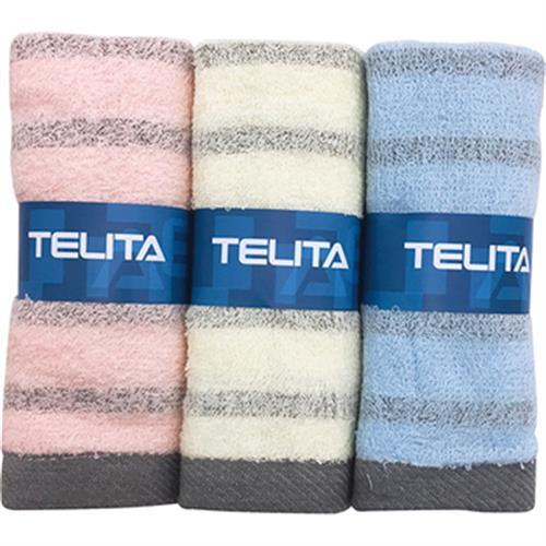 TELITA 粉彩竹炭條紋毛巾3入(33x68cm)