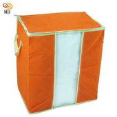 《月陽》49X43竹炭彩色透明視窗衣物收納袋整理箱 2入(C65LX2)(橘色x2)