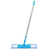 《月陽》可伸縮加寬型超細珊瑚絨靜電不鏽鋼除塵拖把平板拖把(1018)(藍色)