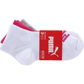 《PUMA》兒童運動襪3入(EU33-36白,粉紅,灰)
