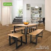 《DFhouse》《DFhouse》英式工業風-餐桌+2雙人餐椅+2單人餐(柚木色)