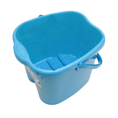 《月陽》日式加高加蓋6滾輪按摩24公升足浴桶按摩泡腳桶(5366)(藍色)