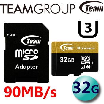 TEAM 十銓 Xtreem 90MB/s microSDXC UHS-I U3 C10 高速記憶卡 32G