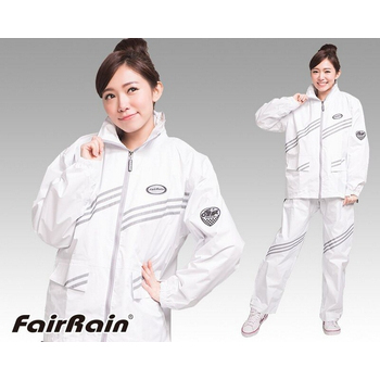 飛銳 Fairrain 第二代新幹線時尚風 雨衣[極光白](M)