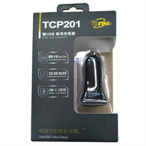 TCSTAR TCP 201 2孔USB車充(黑、白隨機出貨)