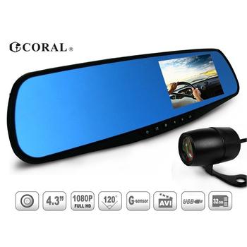 《CORAL》R2後視鏡型雙鏡頭雙錄影 行車紀錄器(R2)