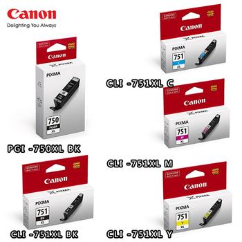 CANON PGI-750XL BK+CLI-751XL BK/C/M/Y原廠墨水組