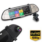 《IS愛思》RV-06XW 7吋GPS智慧導航雙鏡頭後視鏡1080P高畫質行車紀錄器(黑)