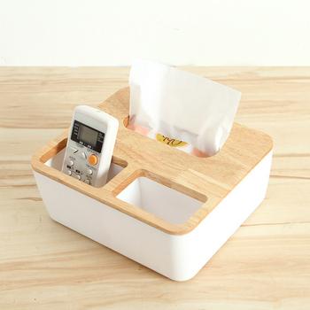 橡木面紙盒-大(方形三格木蓋)(方形三格木蓋)