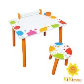 《Kikimmy》繽紛彩漾繪圖桌椅組(木製桌椅組)
