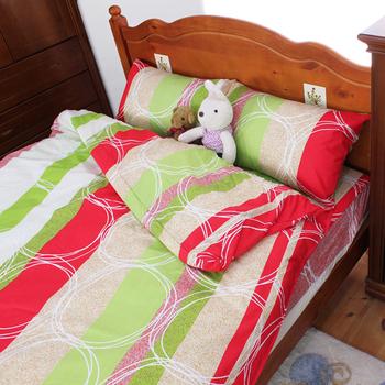 ★結帳現折★床邊故事 雪絲絨 雙人5尺 四件式床包被套組(摩登線圈)