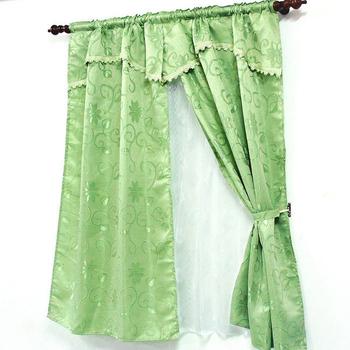★結帳現折★ 布安於室-經典緹花雙層穿管式窗簾-綠色