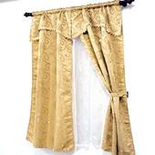 布安於室-經典緹花雙層穿管式窗簾-咖啡