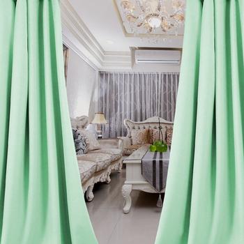 布安於室-簡約時尚綠穿管式單層遮光窗簾-半腰窗(寬200X高165cm)