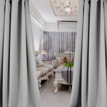 布安於室-簡約素色灰穿管式單層遮光窗簾-落地窗(寬270X高240cm)