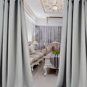 布安於室-簡約素色灰穿管式單層遮光窗簾-落地窗(寬270X高210cm)