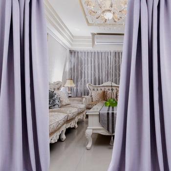 布安於室-簡約素色紫穿管式單層遮光窗簾-半腰窗(寬240X高180cm)