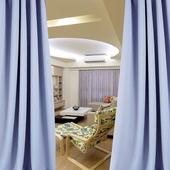 布安於室-簡約素色灰藍穿管式單層遮光窗簾-半腰窗(寬200X高165cm)