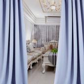 布安於室-簡約素色灰藍穿管式單層遮光窗簾-落地窗(寬270X高240cm)
