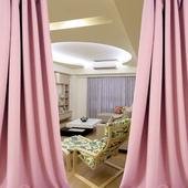 布安於室-簡約素面粉穿管式單層遮光窗簾-落地窗(寬270X高210cm)
