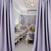 布安於室-簡約素色紫穿管式單層遮光窗簾-半腰窗(寬200X高165cm)