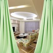 布安於室-簡約素面綠穿管式單層遮光窗簾-半腰窗(寬240X高180cm)