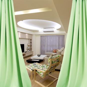 布安於室-簡約素面綠穿管式單層遮光窗簾-半腰窗(寬200X高165cm)