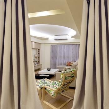 ★結帳現折★ 布安於室-素色咖啡穿管式單層遮光窗簾-半腰窗(寬200X高165cm)