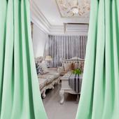 布安於室-簡約時尚綠穿管式單層遮光窗簾-落地窗(寬270X高210cm)