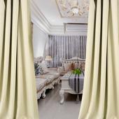 布安於室-簡約淺卡其色穿管式單層遮光窗簾-落地窗(寬270X高210cm)