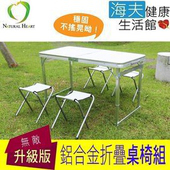 《海夫健康生活館》Nature Heart 加固強化 行動折疊桌椅組 (童軍椅4張+折疊桌)(桌子:藍色)