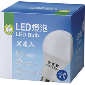《FP》LED燈泡4入(白光#12W / 100~240V)
