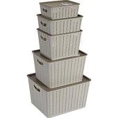 《actuel》多用途收納籃附蓋五件組米白