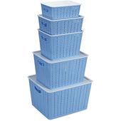 《actuel》多用途收納籃附蓋五件組(粉藍)