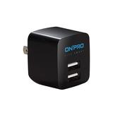 《ONPRO》UC-2P01 雙USB輸出電源供應器/充電器(5V/2.4A)(深夜黑)