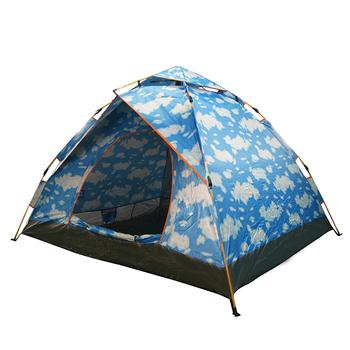 《TECHONE》鏕遊樂免搭速開野營四人帳篷 免搭帳棚 四人加大速免搭彈開式帳篷(210x185x125cm)(藍色)