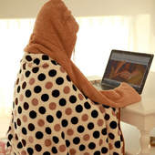 【Bunny】加厚連帽可拆法蘭絨懶人毯宅人披肩袖毯毛毯(粉色圓點)