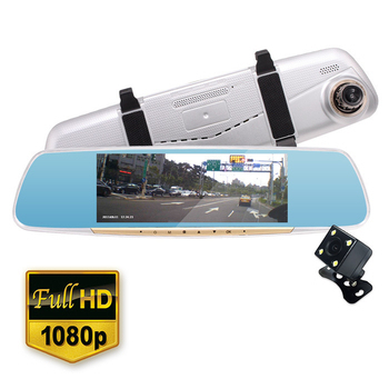 《IS愛思》RV-07XW 7吋觸控式雙鏡頭後視鏡1080P高畫質行車紀錄器(銀色)