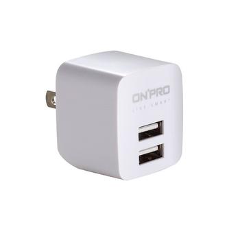ONPRO UC-2P01 雙USB輸出電源供應器/充電器(5V/2.4A)(冰晶白)