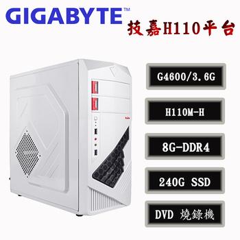 技嘉平台 冰封雪地 Intel第7代 G4600雙核 8G-D4 / SSD 240G 桌上型電腦