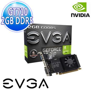 EVGA艾維克 GT710 2GB DDR5 LP 64Bit PCI-E 圖形加速卡(02G-P3-3713-KR)
