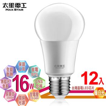 《太星電工》LED燈泡 E27/16W/(12入)(暖白光)